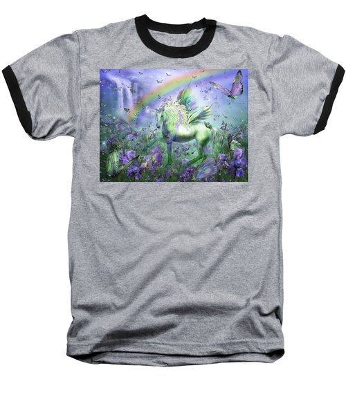 Baseball T-Shirt featuring the mixed media Unicorn Of The Butterflies by Carol Cavalaris
