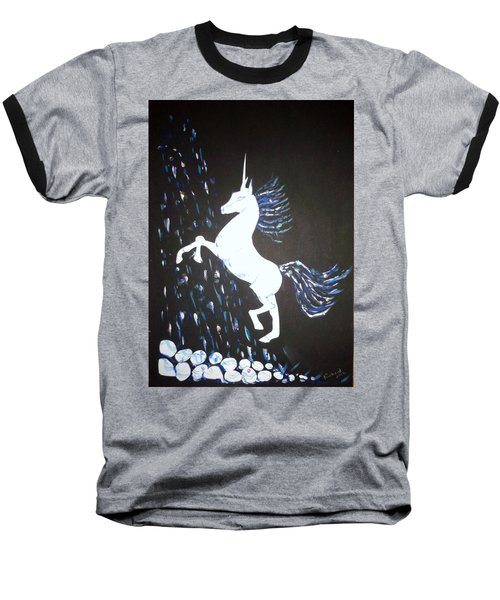 Unicorn Takes A Shower Baseball T-Shirt by Veronica Rickard