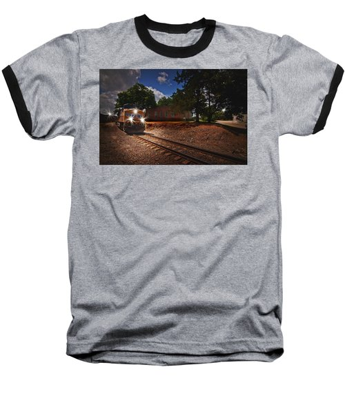 Union Pacific 7917 Train Baseball T-Shirt by Linda Unger