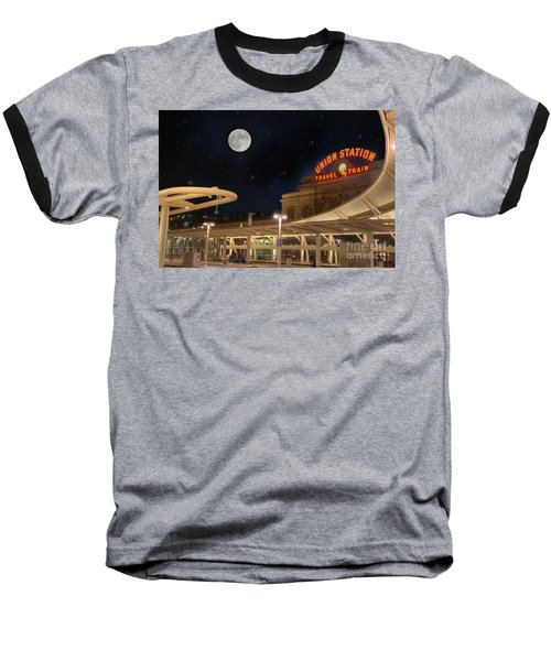 Union Station Denver Under A Full Moon Baseball T-Shirt by Juli Scalzi