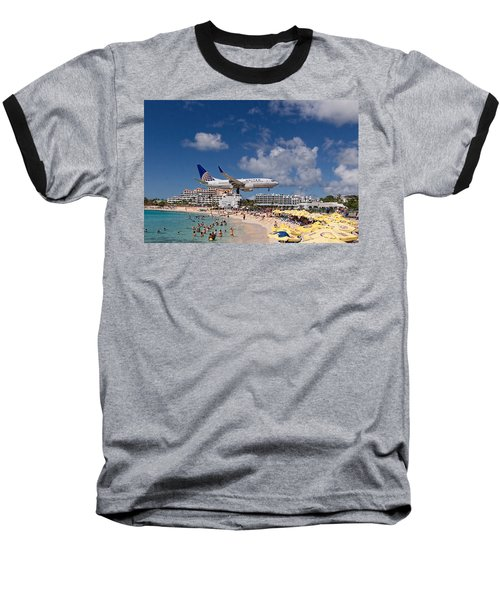 United Low Approach St Maarten Baseball T-Shirt by David Gleeson