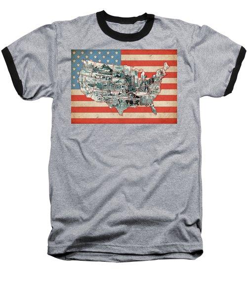 United States Flag Map Baseball T-Shirt