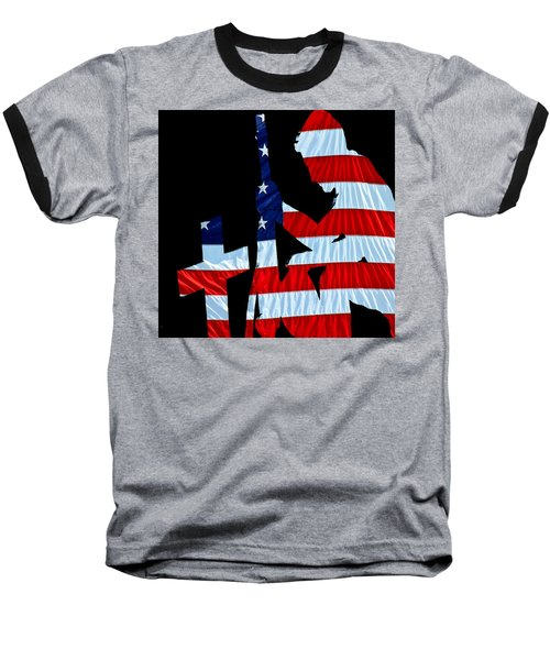 A Time To Remember United States Flag With Kneeling Soldier Silhouette Baseball T-Shirt by Bob Orsillo