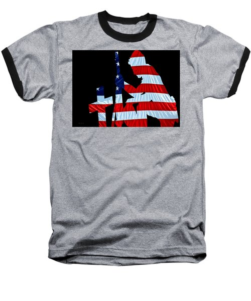 A Time To Remember United States Flag With Kneeling Soldier Silhouette Baseball T-Shirt