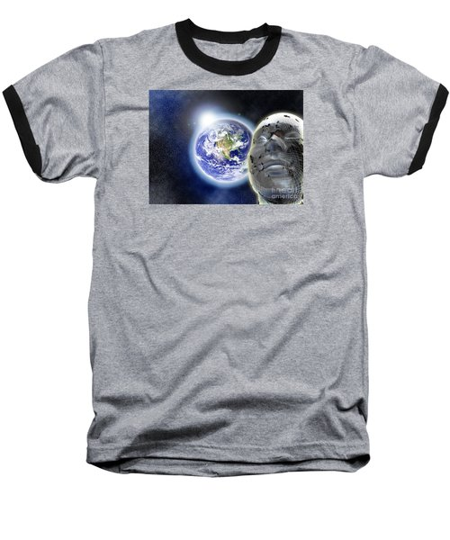 Alone In The Universe Baseball T-Shirt by Stefano Senise