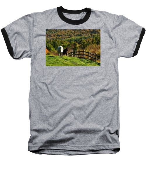 Baseball T-Shirt featuring the photograph Up The Hill by Joan Davis