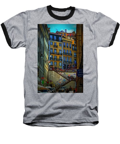 Up The Stairs - Lisbon Baseball T-Shirt by Mary Machare