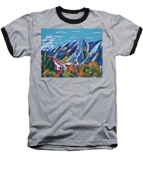 Up To The Mountains Baseball T-Shirt by Erika Pochybova