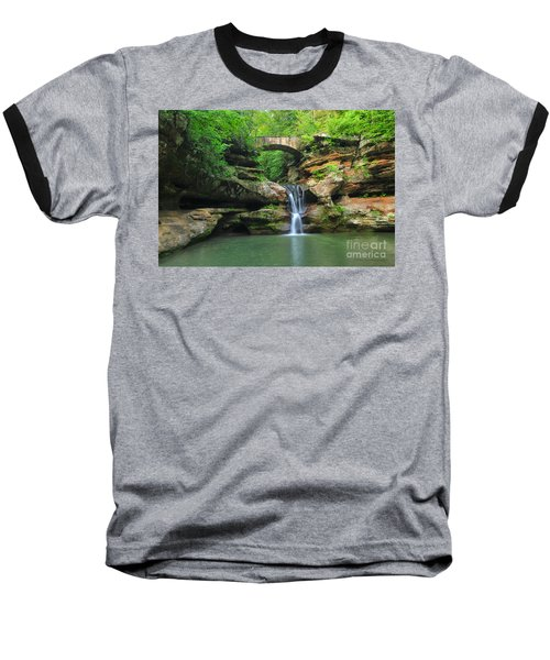 D10a-113 Upper Falls At Old Mans Cave Hocking Hills Photo Baseball T-Shirt