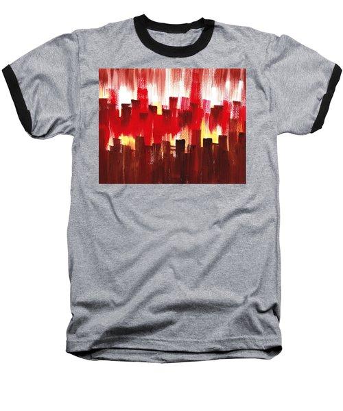 Baseball T-Shirt featuring the painting Urban Abstract Evening Lights by Irina Sztukowski
