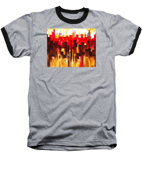 Baseball T-Shirt featuring the painting Urban Abstract Glowing City by Irina Sztukowski
