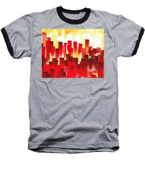 Baseball T-Shirt featuring the painting Urban Abstract Red City Lights by Irina Sztukowski