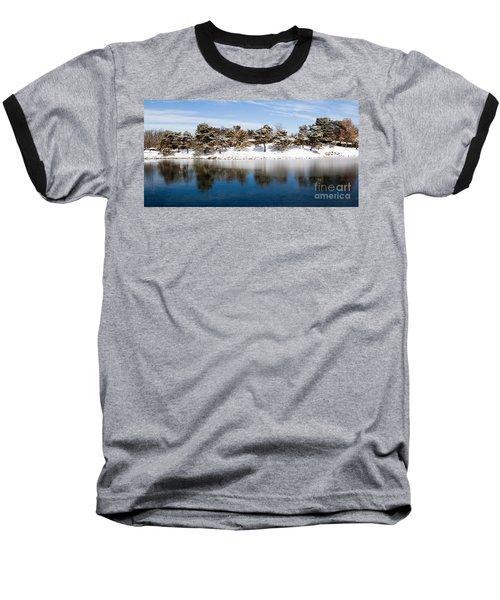 Urban Pond In Snow Baseball T-Shirt