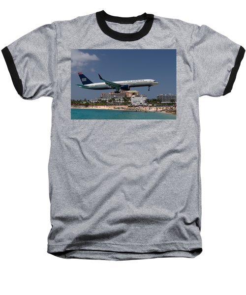 U S Airways At St Maarten Baseball T-Shirt by David Gleeson