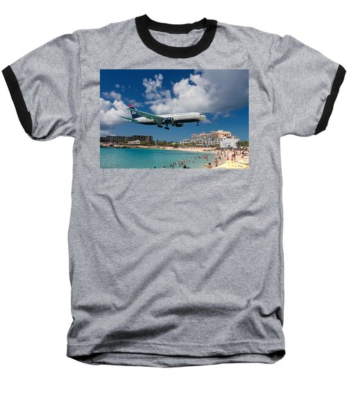 U S Airways Landing At St. Maarten Baseball T-Shirt by David Gleeson