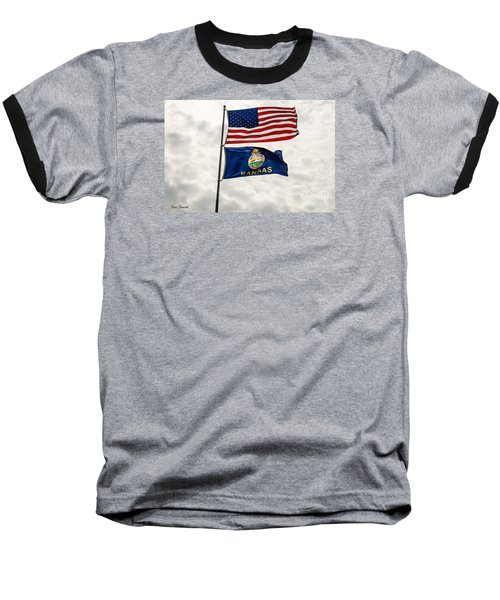 Baseball T-Shirt featuring the photograph Us And Kansas Flags by Sue Smith
