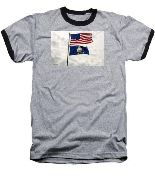 Us And Kansas Flags Baseball T-Shirt