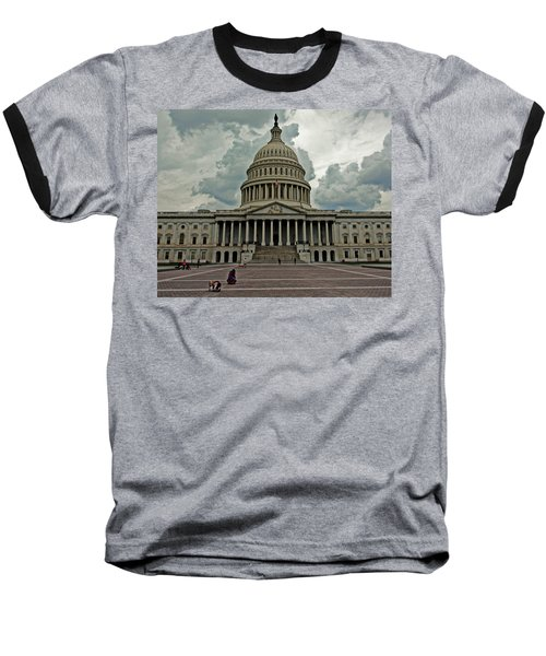 Baseball T-Shirt featuring the photograph U.s. Capitol Building by Suzanne Stout