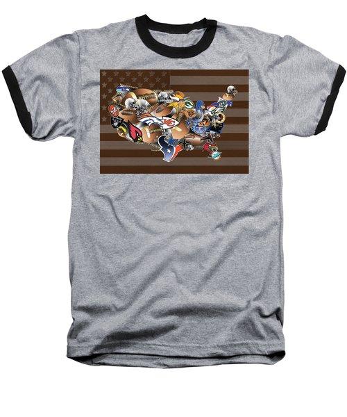 Usa Nfl Map Collage 2 Baseball T-Shirt