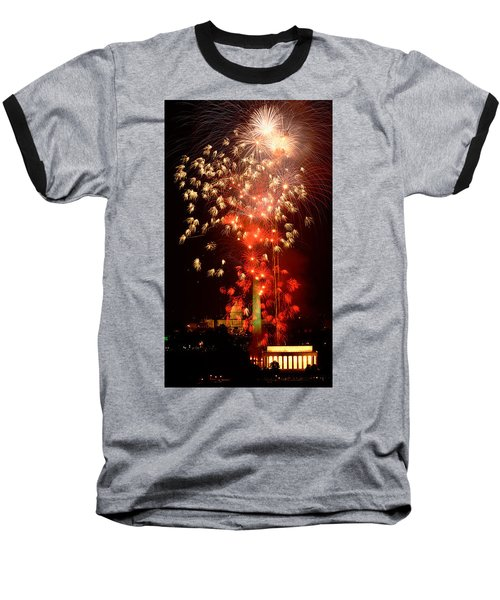 Usa, Washington Dc, Fireworks Baseball T-Shirt by Panoramic Images