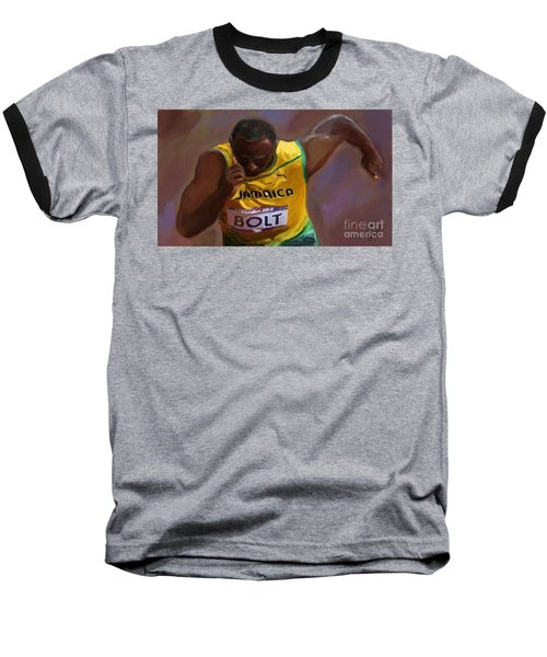 Usain Bolt 2012 Olympics Baseball T-Shirt by Vannetta Ferguson