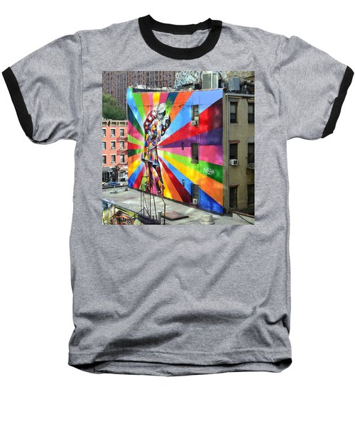 V - J Day Mural By Eduardo Kobra Baseball T-Shirt by Allen Beatty