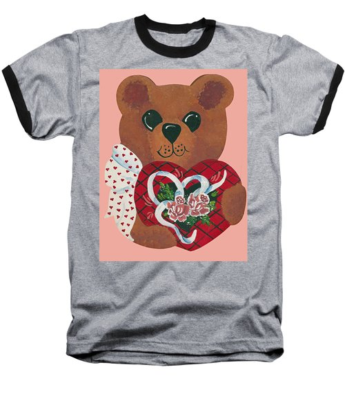 Baseball T-Shirt featuring the painting Valentine Hug by Barbara McDevitt