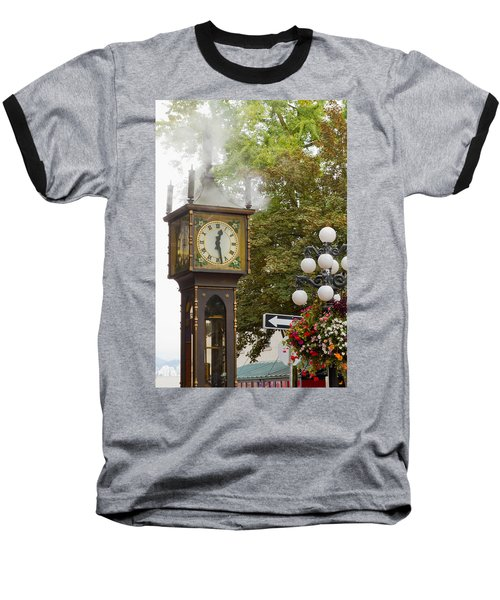 Baseball T-Shirt featuring the photograph Vancouver Bc Historic Gastown Steam Clock by JPLDesigns