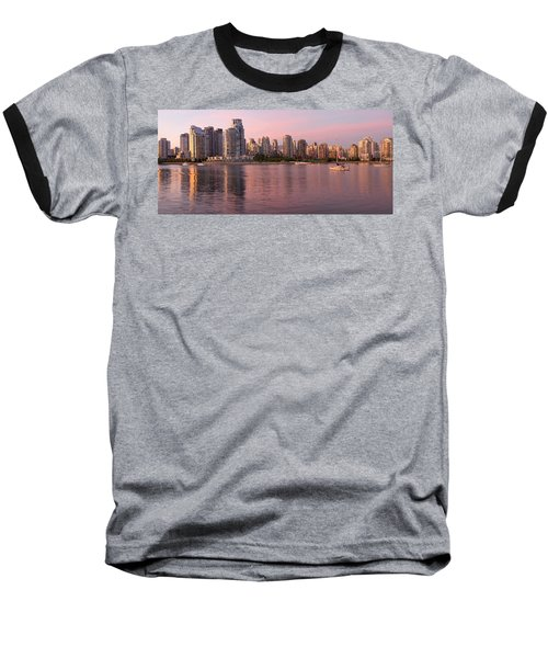 Baseball T-Shirt featuring the photograph Vancouver Bc Skyline Along False Creek At Dusk by JPLDesigns