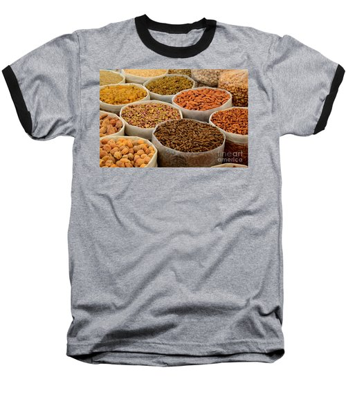 Variety Of Raw Nuts For Sale At Outdoor Street Market Karachi Pakistan Baseball T-Shirt