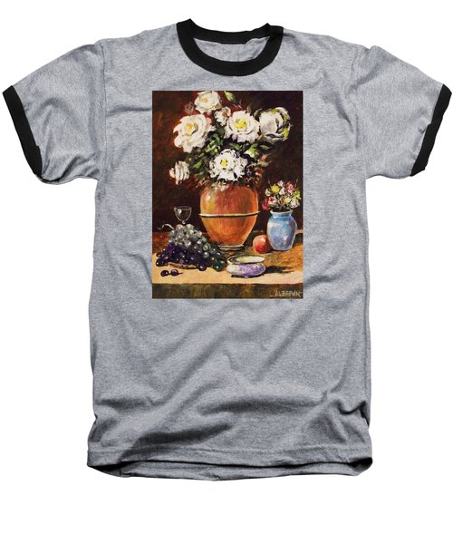 Baseball T-Shirt featuring the painting Vase Of Flowers And Fruit by Al Brown
