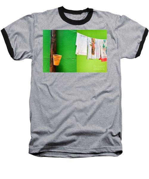 Baseball T-Shirt featuring the photograph Vase Towels And Green Wall by Silvia Ganora