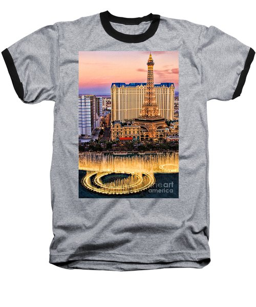Vegas Water Show Baseball T-Shirt by Tammy Espino