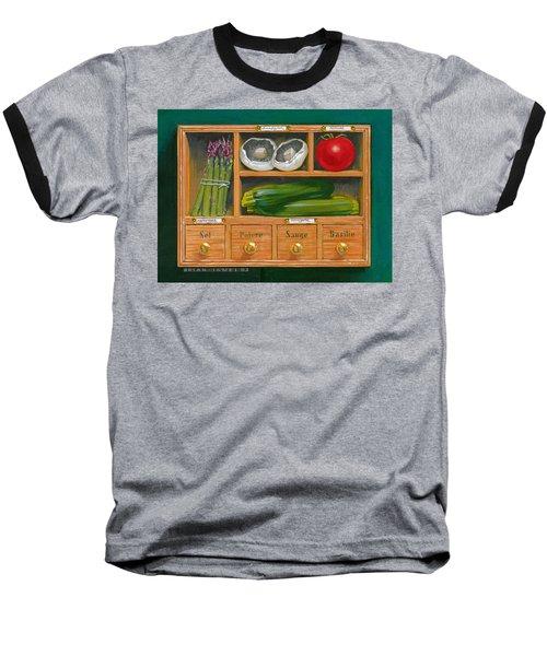 Vegetable Shelf Baseball T-Shirt by Brian James