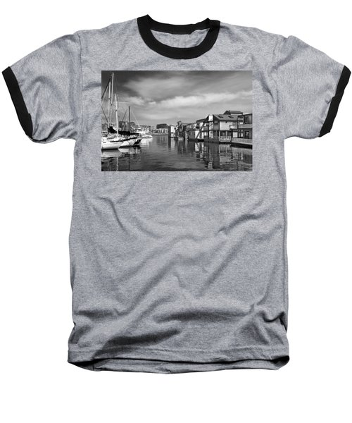 Veiw Of Marina In Victoria British Columbia Black And White Baseball T-Shirt