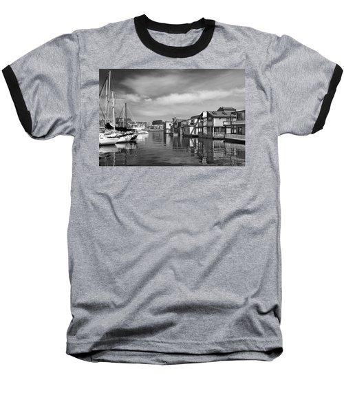 Veiw Of Marina In Victoria British Columbia Black And White Baseball T-Shirt