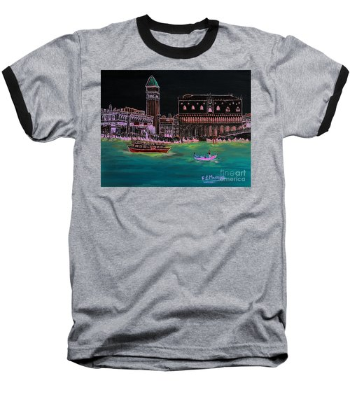 Venice At Night Baseball T-Shirt by Loredana Messina