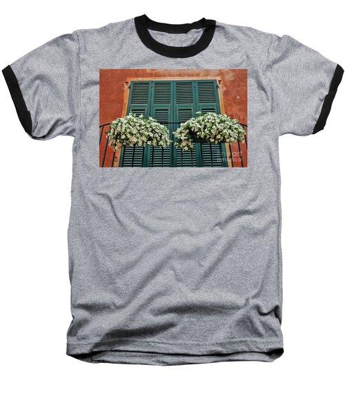 Baseball T-Shirt featuring the photograph Venice Flower Balcony 2 by Allen Beatty