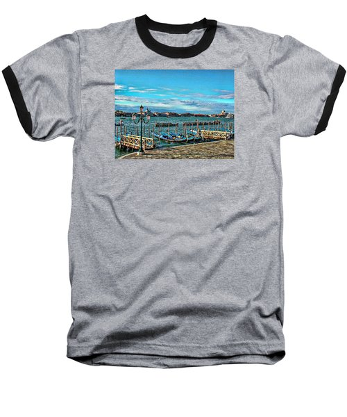 Venice Gondolas On The Grand Canal Baseball T-Shirt by Kathy Churchman