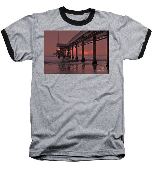 Venice Pier In Red Baseball T-Shirt