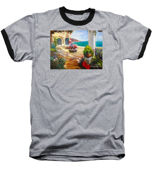 Baseball T-Shirt featuring the painting Venice Villa by Jenny Lee
