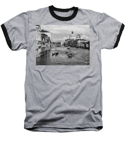 Baseball T-Shirt featuring the painting Vintage Venice Black And White by Georgi Dimitrov