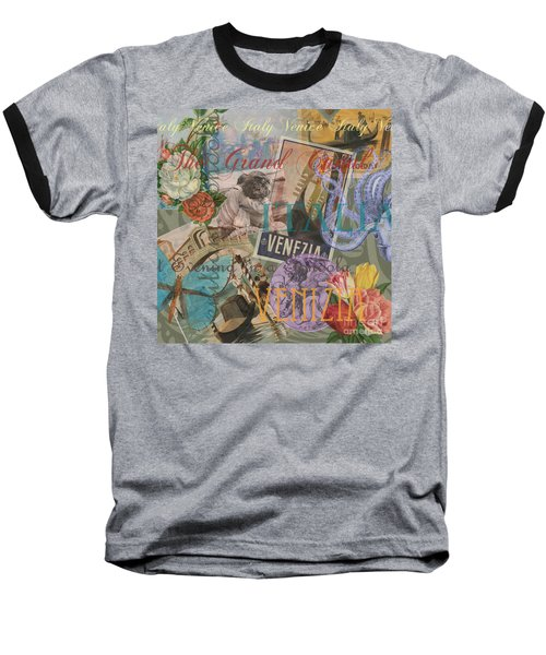 Venice Vintage Trendy Italy Travel Collage  Baseball T-Shirt