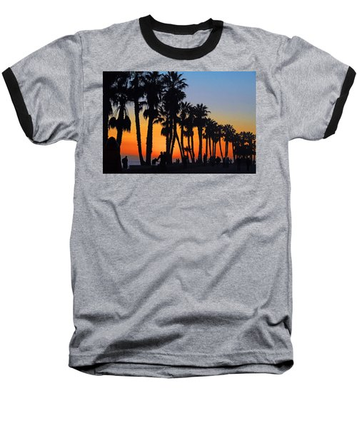 Ventura Boardwalk Silhouettes Baseball T-Shirt by Lynn Bauer