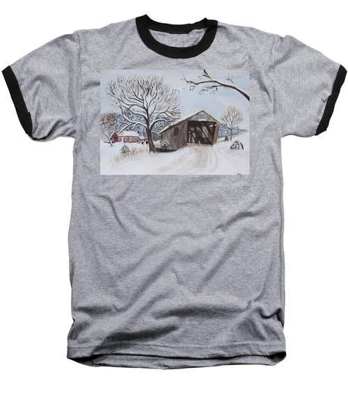 Vermont Covered Bridge In Winter Baseball T-Shirt