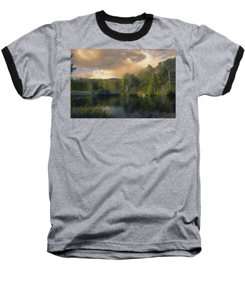 Baseball T-Shirt featuring the painting Vermont Morning Reflection by Jeff Kolker