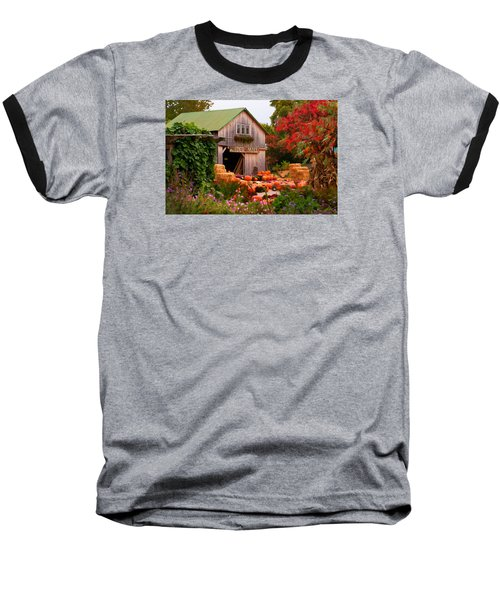 Baseball T-Shirt featuring the photograph Vermont Pumpkins And Autumn Flowers by Jeff Folger