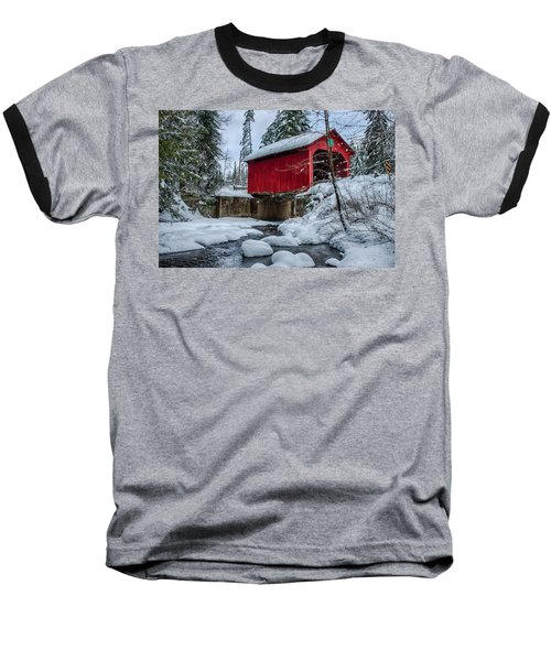 Vermonts Moseley Covered Bridge Baseball T-Shirt by Jeff Folger
