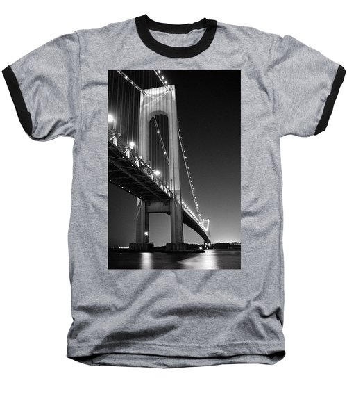 Verrazano Bridge At Night - Black And White Baseball T-Shirt