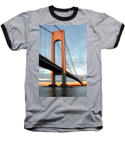 Verrazano Bridge At Sunrise - Verrazano Narrows Baseball T-Shirt